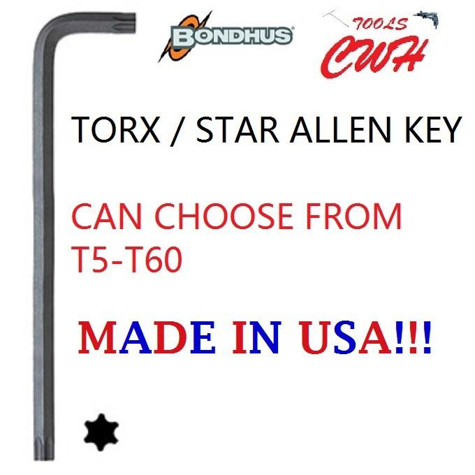 T5-T60 RANGE BONDHUS USA STAR TORX ALLEN KEY DRIVER L-WRENCH