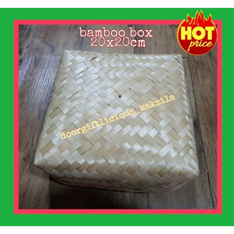 *Kotak 20x20cm*Bamboobox*style anyaman mengkuang box