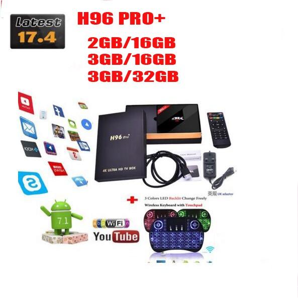 H96 PRO Plus + Android 7 1 TV Box 3G 32G ROM Amlogic S912 64bit WIFI  Bluetooth