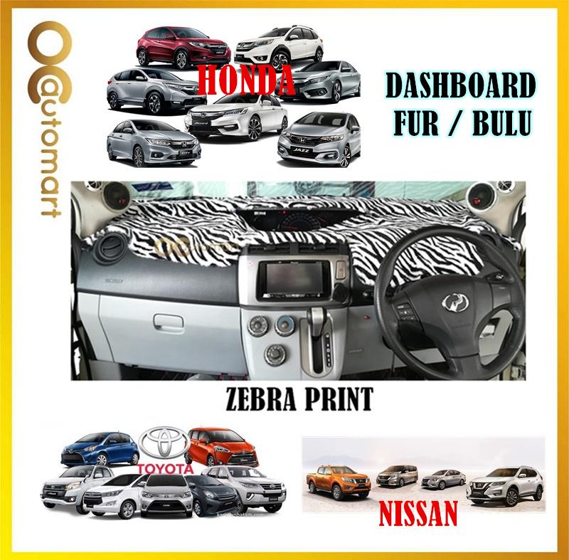 Customized Dashboard Cover Fur / Bulu (Zebra Print) For Honda Nissan Toyota Isuzu