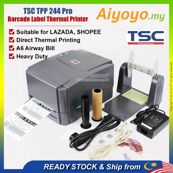 TSC TTP 244 Pro Barcode Printer A6 Thermal Printer Thermal Label Printer Shopee Lazada Air Waybill AWB Consignment Note