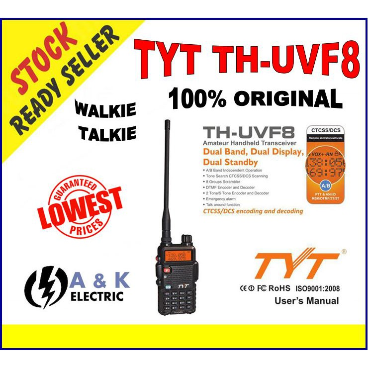 TYT TH-UVF8 F8 UV Dual Band 5W Walkie Talkie 5KM High Range UHF VHF [100%  ORI]