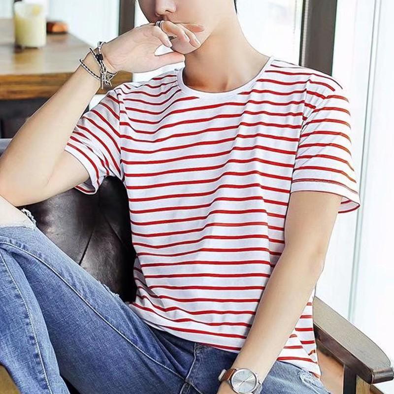 Mens Summer T-Shirt Round Neck Short Sleeves Slim Fit New Fashion Striped  Shirt