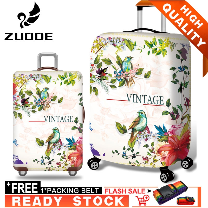 Suitcase Cover Thick Wear-Resistant Elastic Breathable Luggage Case Protective Cover Shipping Box Zipper Anti-Theft Dust Cover