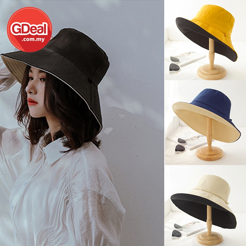 GDeal Korean Fashion New Style Fisherman Outdoor Double Sided Solid Color Large Brimmed Bucket Hat Topi Perempuan