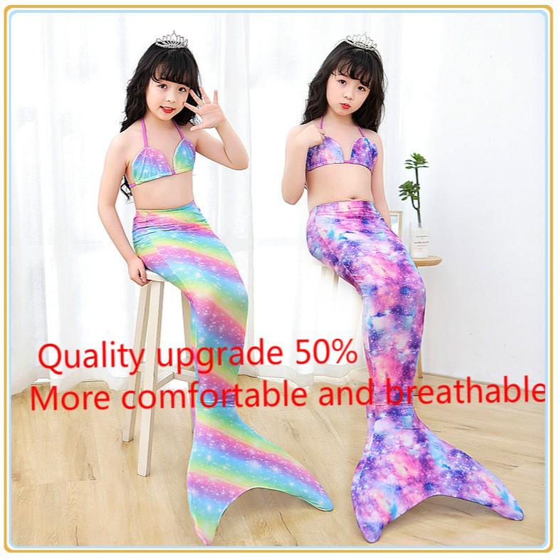 Lestore Girls 3pcs Mermaid Tail Swimsuit Sea-Maid Bikini Mermaid Swimwear
