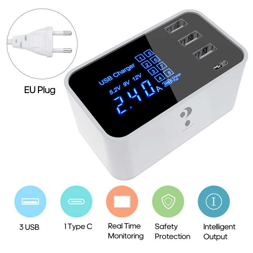 4 Ports USB Smart Chargers Fast Chargers Intelligent LEDs Digital Dispaly Safety Protection for 110-240Voltage USB Type