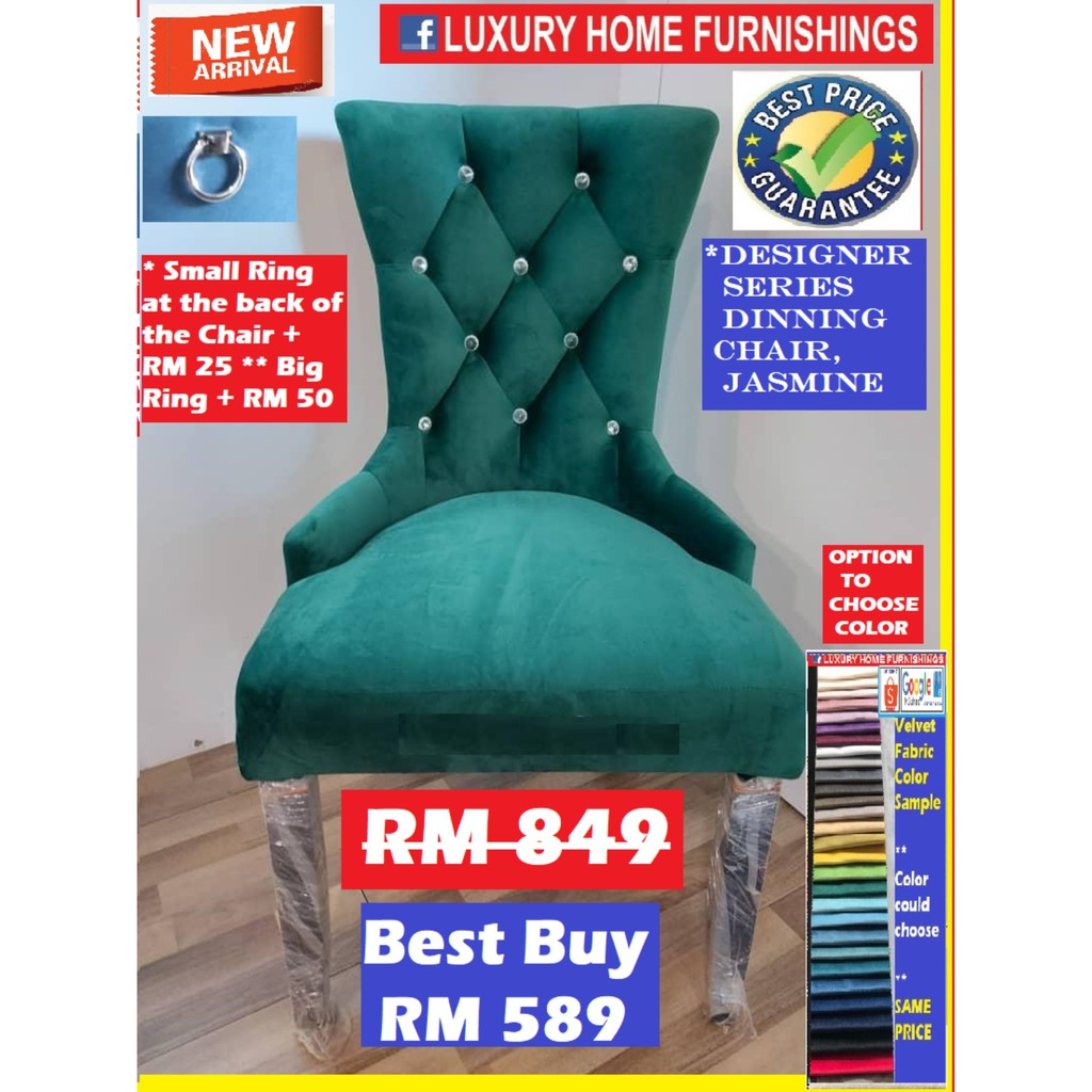 DESIGNER SERIES DINNING CHAIR, JASMINE,  FABRIC!! COLOR & MATERIAL COULD CHOOSE!! RM 849!! BEST BUY RM 589