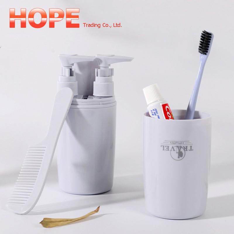 1183651e4f70 Travel Wash Toiletries Cup Set Toothbrush Box Shampoo Bath Empty Bottles  Storage
