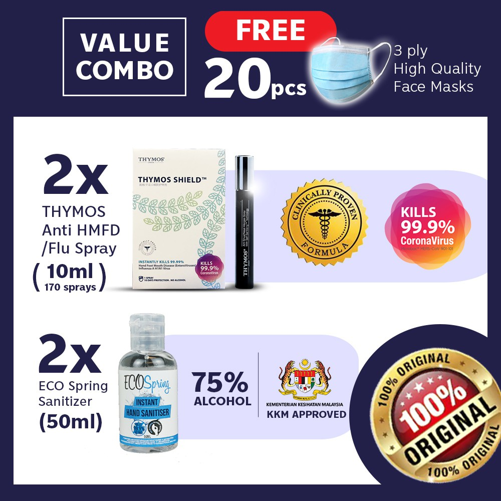 【Clinical Proven Sanitiser FREE 20 Face Cover】2x 10mL Thymos + 2x 50mL Ecospring