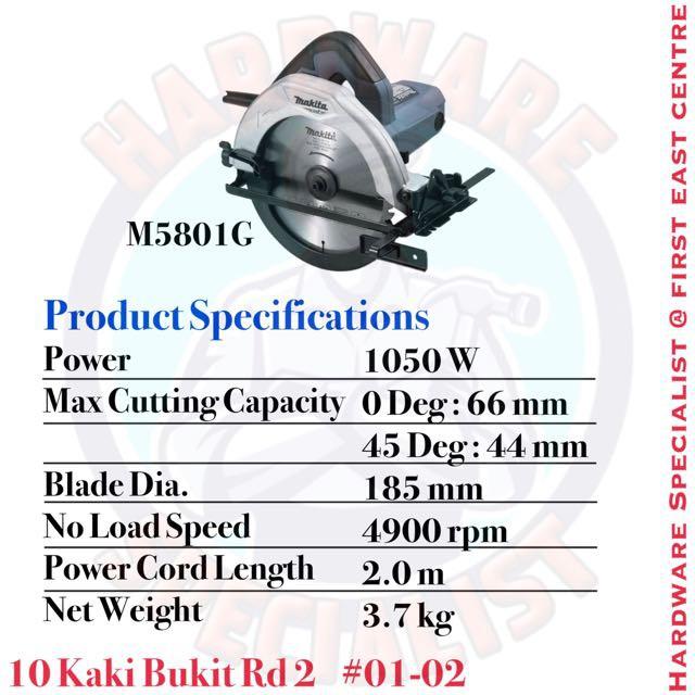 """MAKITA M5801G 7"""" CIRCULAR SAW (MT SERIES) 1050W 185mm"""
