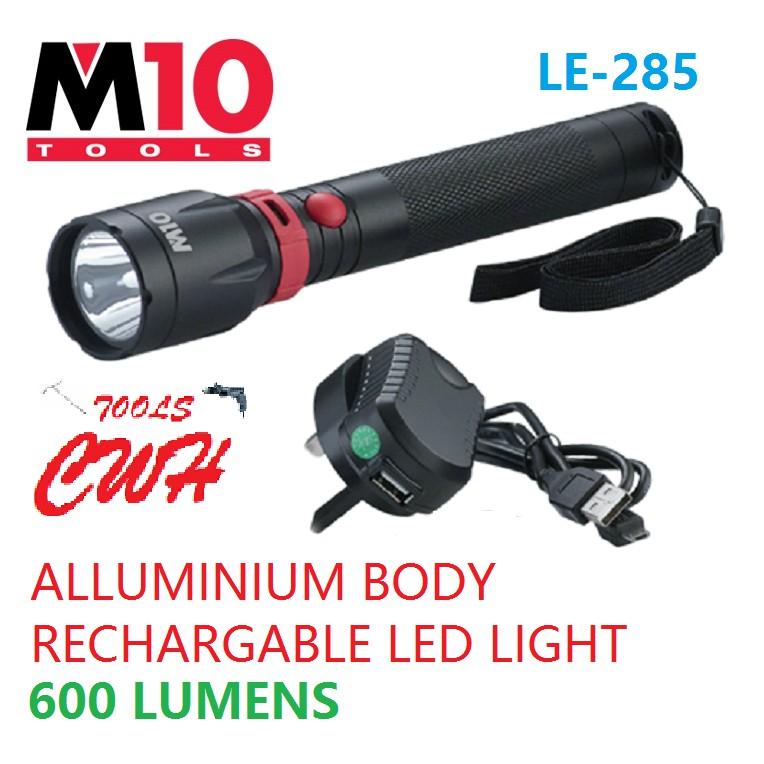 LE-285 280 LUMENS 5W LED M10 ALUMINIUM BODY RECHARGEABLE BATTERY TORCHLIGH LIGHT FLASHLIGHT NICRON BLACK HARDWARE