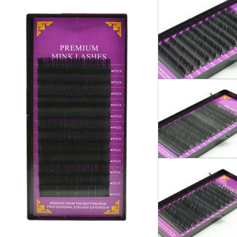 1fa25ca053a ProductImage. ProductImage. 12 rows Size D 14mm Curl Individual Mink False Eyelash  Extension Soft Black