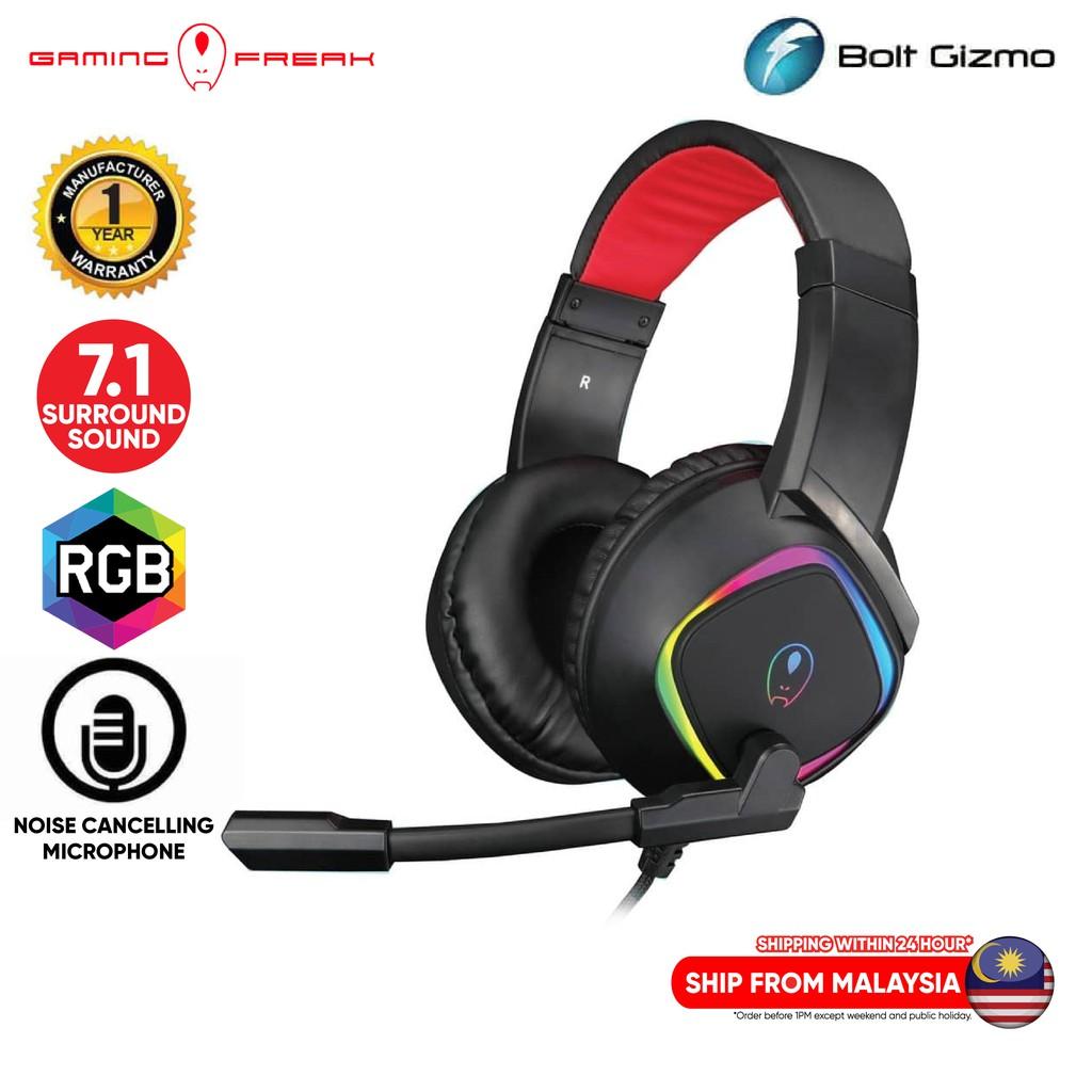 Gaming Freak Spark 2 RGB 7.1 Surround Sound Virtual Gaming Headset Noise Canceling Microphones Headphone Headband Light