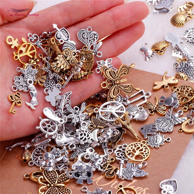 160pcs Mixed Jewelry Charms Bulk Smooth