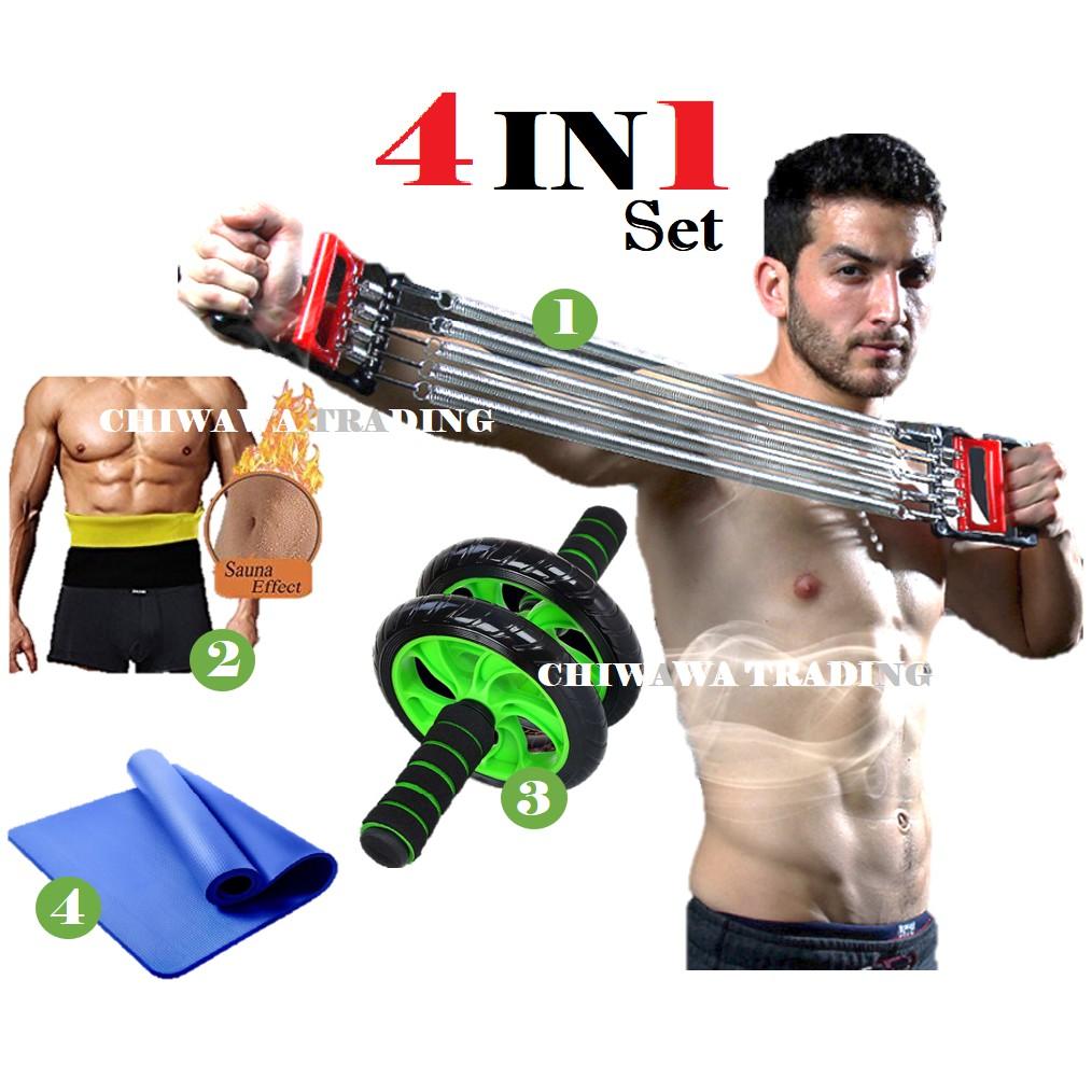 【4 IN 1】Spring Chest Expender + HOT SHAPERS Belt + Wheel AB Roller + Yoga Mat