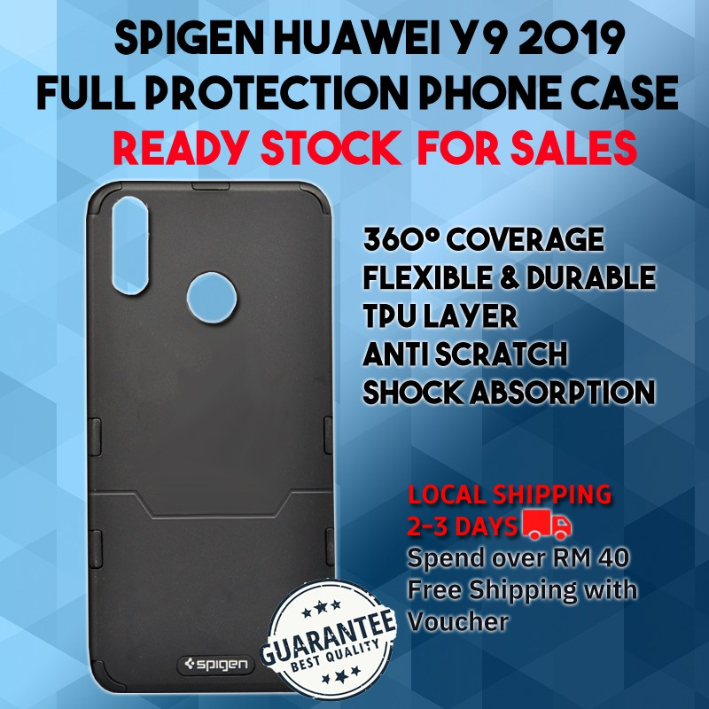 new styles f17b2 f9c4a Spigen Huawei Y9 2019 Full Protection Phone Case available for 4 color