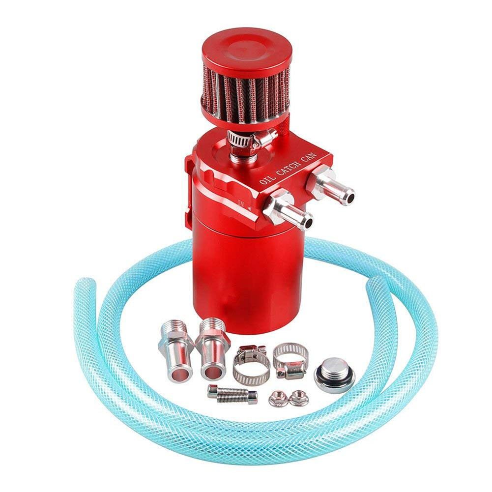 ✪300ML Car Racing Engine Oil Catch Tank Can Reservoir Breather Blue Filter  Alloy