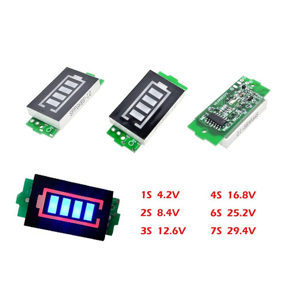 3S 7S 8S 18650 Lithium Battery Tester Red Blue Capacity Voltmeter Display Meter