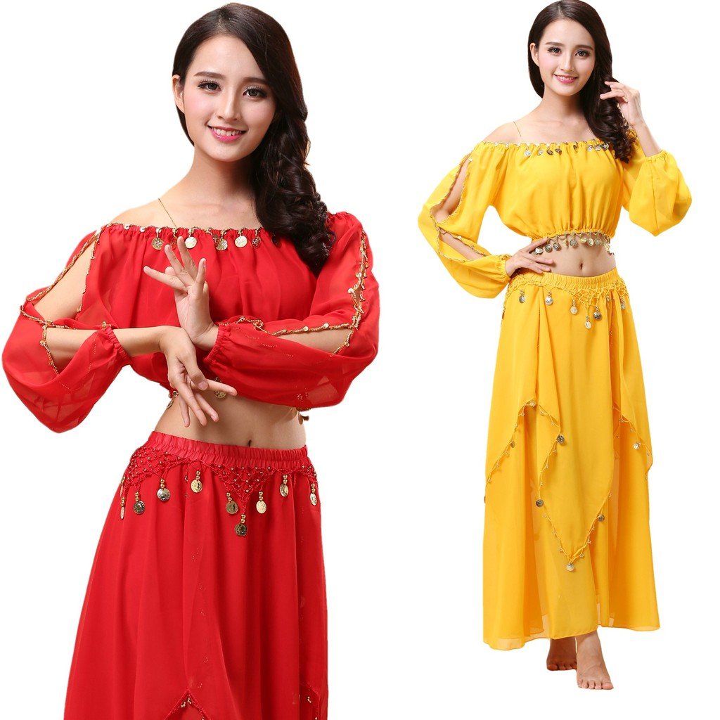 Indian dance costumes belly dance costume suit skirt practice dance  performance out service stage clothes,