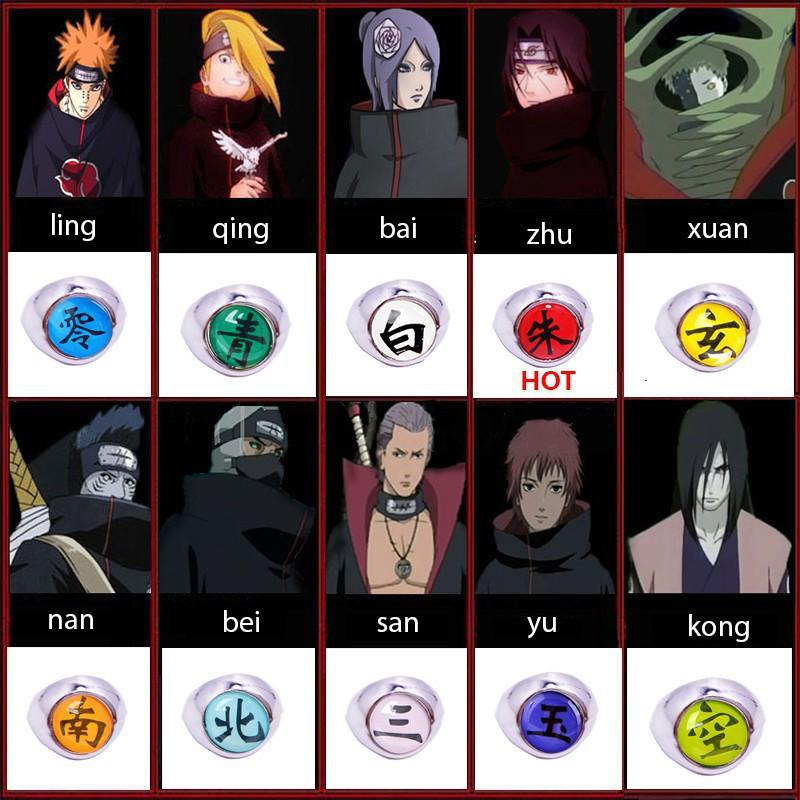 Cool Naruto Akatsuki Uchiha Itachi Zhu//Nan//Bai Ring Metal Cosplay Ring Chic
