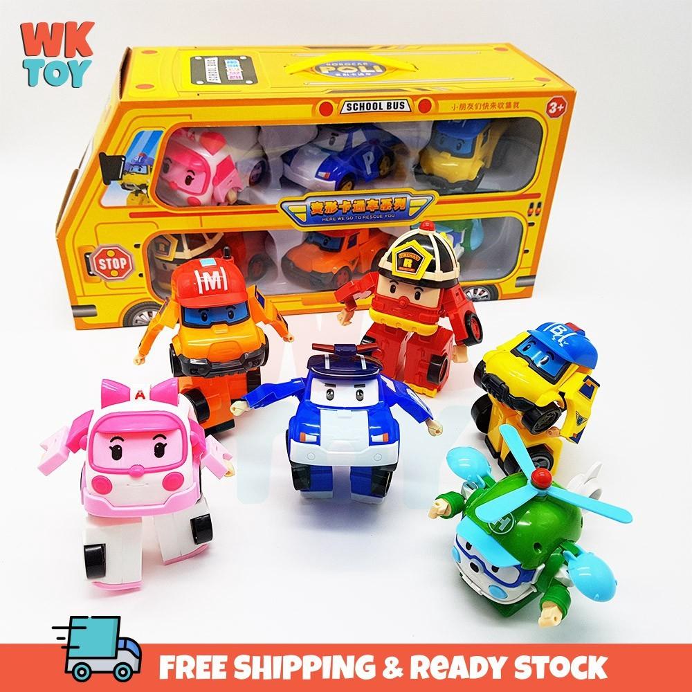WKTOY 6 In 1 Poli Transformation Cartoon Robot Car Toy Gift Set