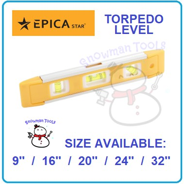TORPEDO LEVEL EPICA STAR BRAND MAGNETIC MAGNET 9'' 16'' 20'' 24'' 32'' MAGNECTIC TORPEDO LEVEL WATER BOX BEAM MEASURING