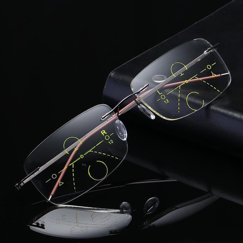 8fd4a74cec542 Rimless Round Progressive Multifocal Reading Glasses TITANIUM ALLOY ADD +1  To +4