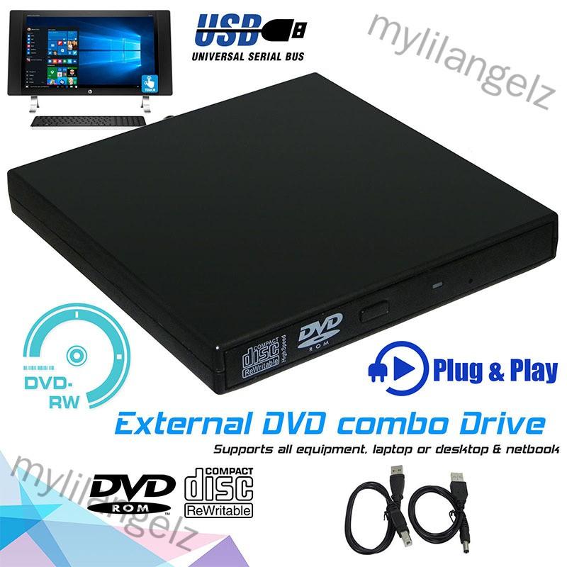 Mylilangelz Slim External USB 2.0 DVD Drive CD RW Writer Burner Reader Player for PC Laptop (READY STOCK)