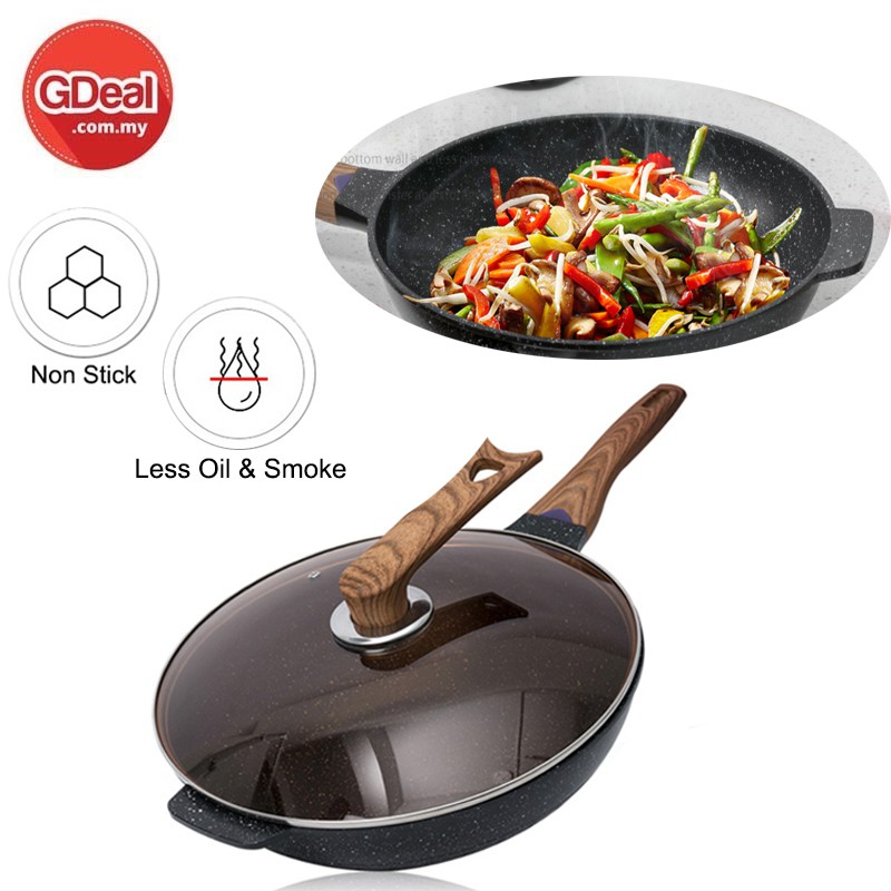 GDeal Esssential Woody Non-stick Deep Fry Pan with Lid 32cm, PFOA Free Maifan Stone Non-Stick Coating Cookware