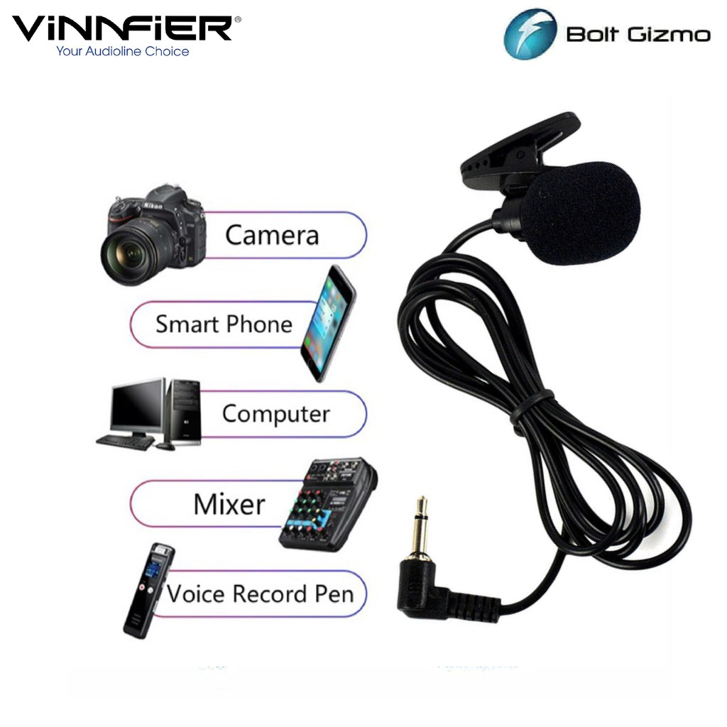 Vinnfier Collar Clip Microphone Lavalier with 3.5mm Jack Support Speaker Phone Computer Notebook PA Sound System Mic