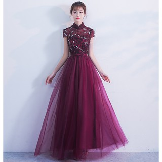 ccccf24588b19 BEAUNIQUE Dark Purple Floral Embellished Lace Detailed Evening Dress ...