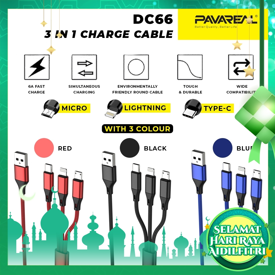 PAVAREAL PA-DC66 Nylon 3-in-1 6A Fast Charging Interface Micro/Lightning/Type-C 1.2M iOS Android