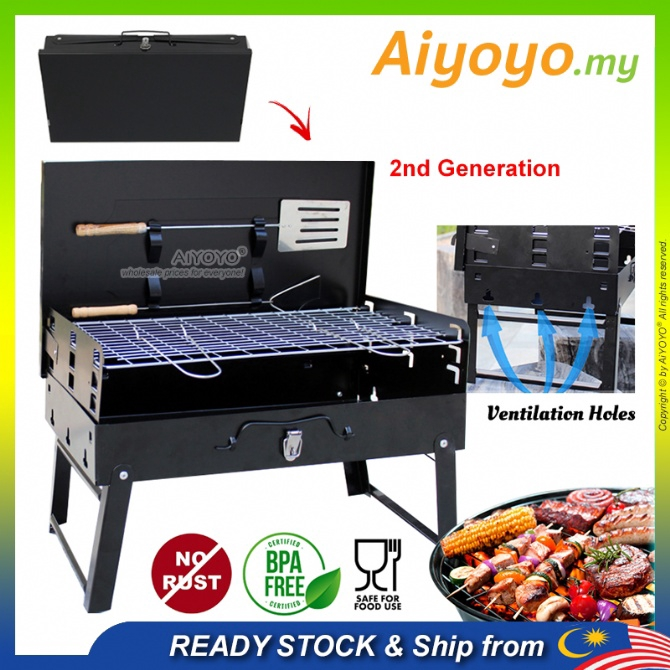 BBQ Grill Pan Outdoor Portable Folding BBQ Charcoal Grill Stand Picnic Barbecue Party Camping Family Lightweight Tools R