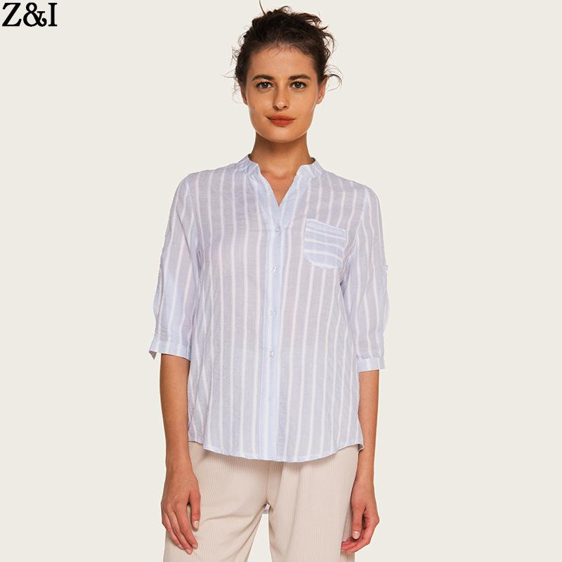 e80f16613c22f 2019 summer new European and American loose thin striped shirt women ...