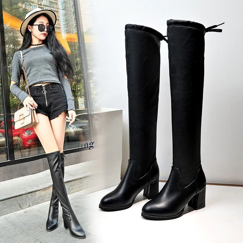 New Womens Sequins Bling Leather Low Heel Knee High Boot Knight Boots Size 34-42