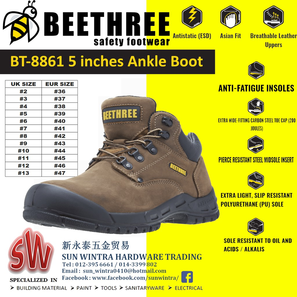76043be4289 BEETHREE BT8861 5INCHES ANKLE BOOT SAFETY SHOES