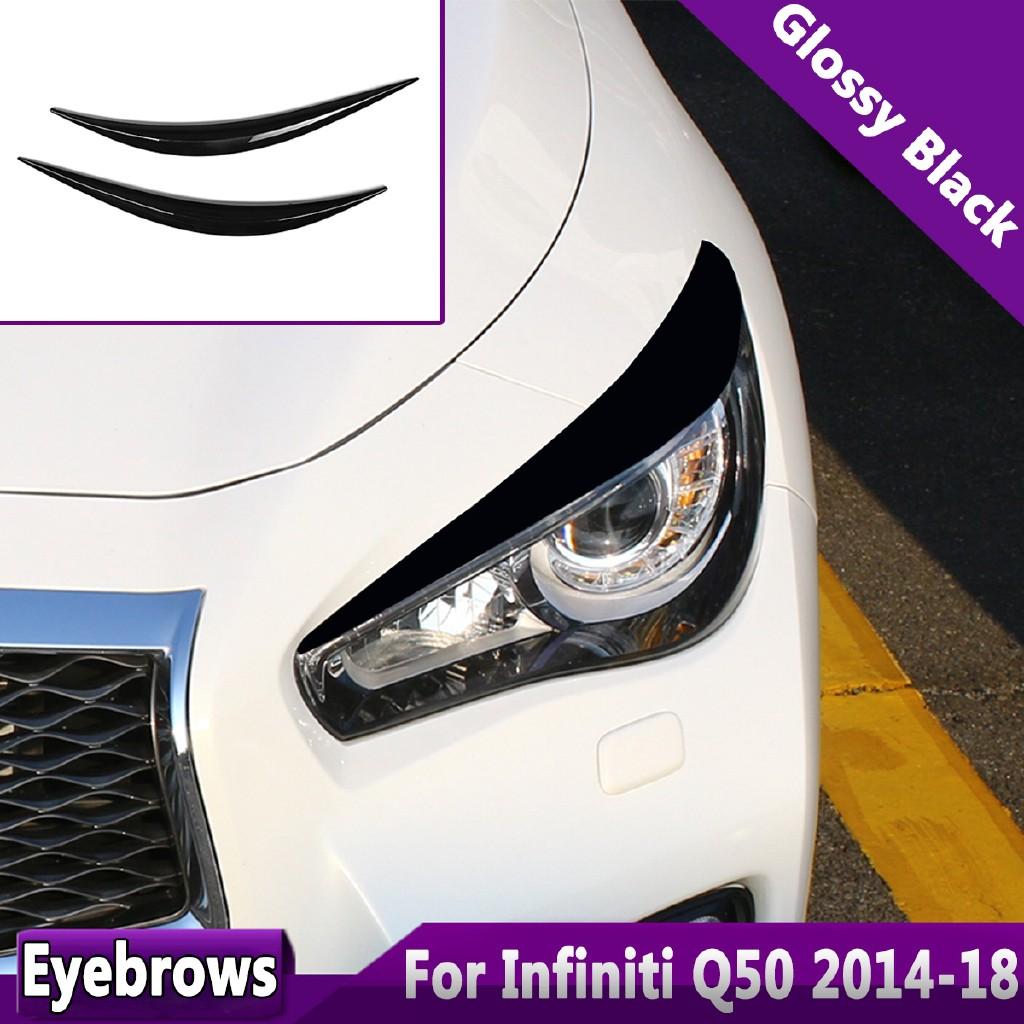 💝Best💝2xGlossy Black Headlight Eye Lid Eyebrow ABS Cover Trim For 2014-18  INFINITI Q50