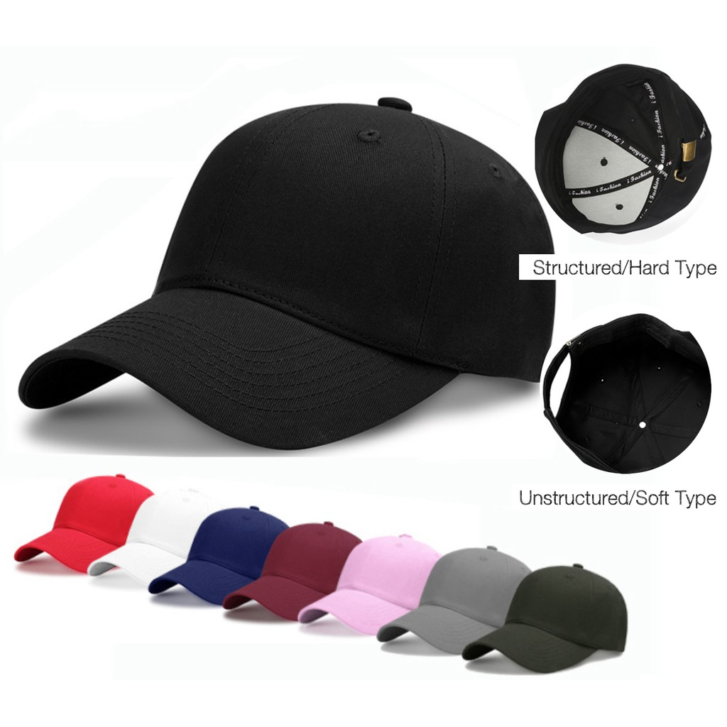 9b6941d52 Unisex Structured and Unstructured Plain Baseball Cap (MG001) Adjustable
