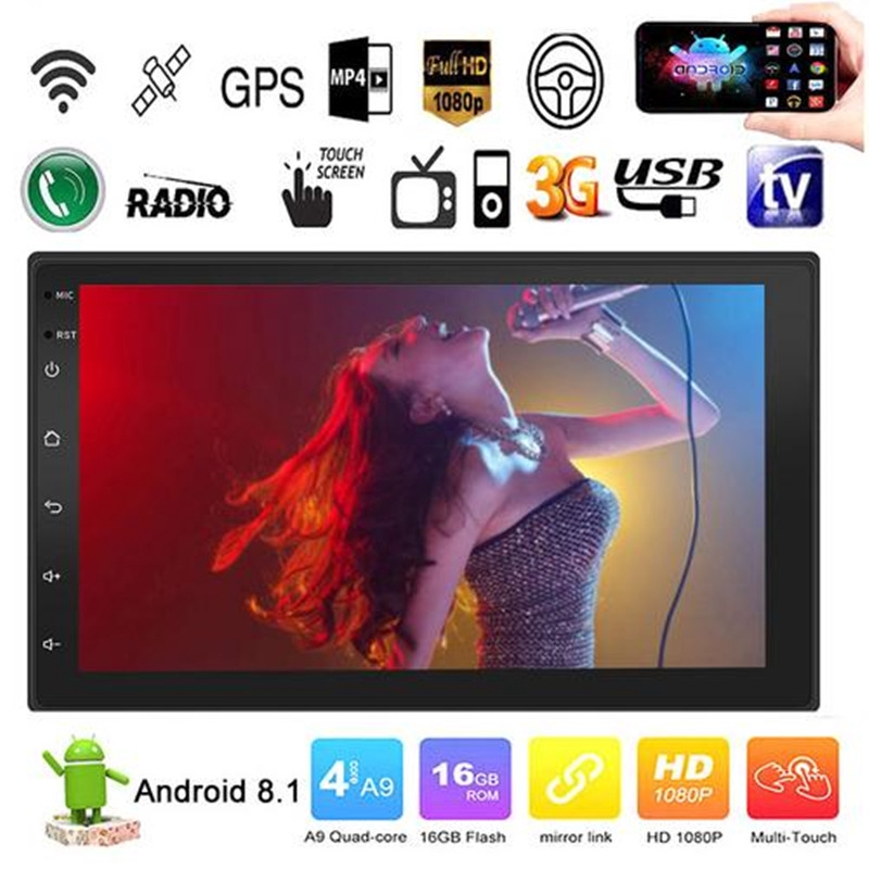 Android 8 1 Quad Cores 7 '' Double 2 DIN Touch Screen HD Car MP5 Player FM  Radio/ BT /USB /GPS /WIFI /Mirror Link 1+16G