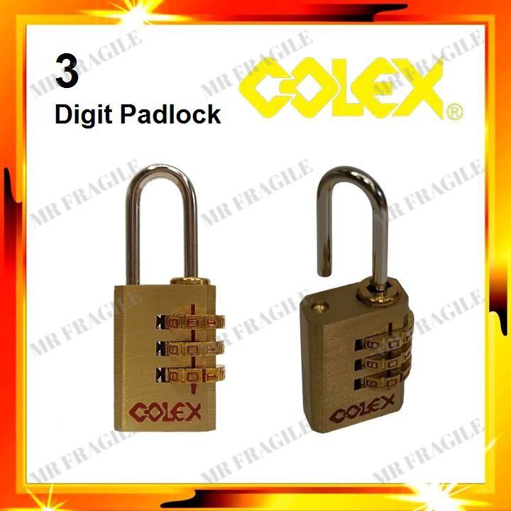 (3-Digit) / (4-Digit) COLEX Travel Solid Brass Padlock Resettable Password Small Portable Luggage Bag Lock Kunci Beg