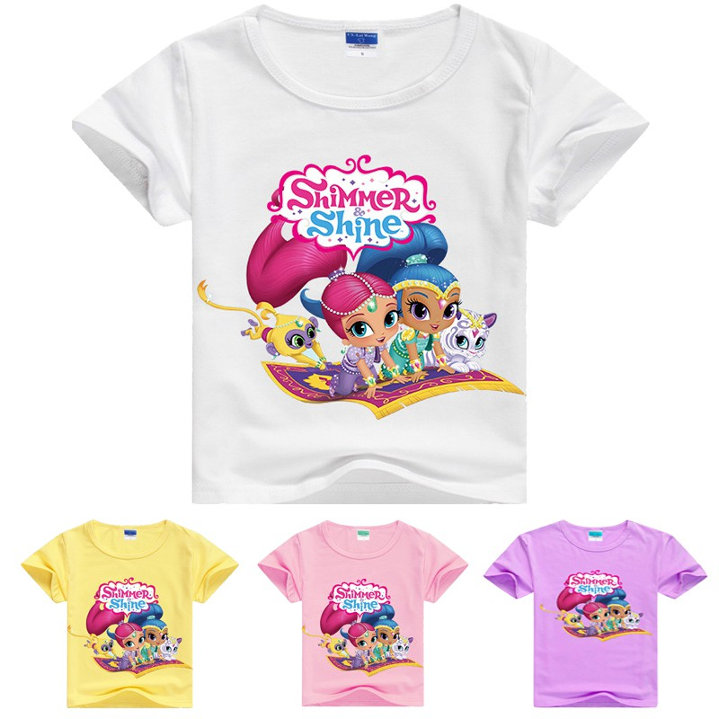 Girls Kids Official Shimmer And Shine Grey Long Sleeve T Tee Shirt Top