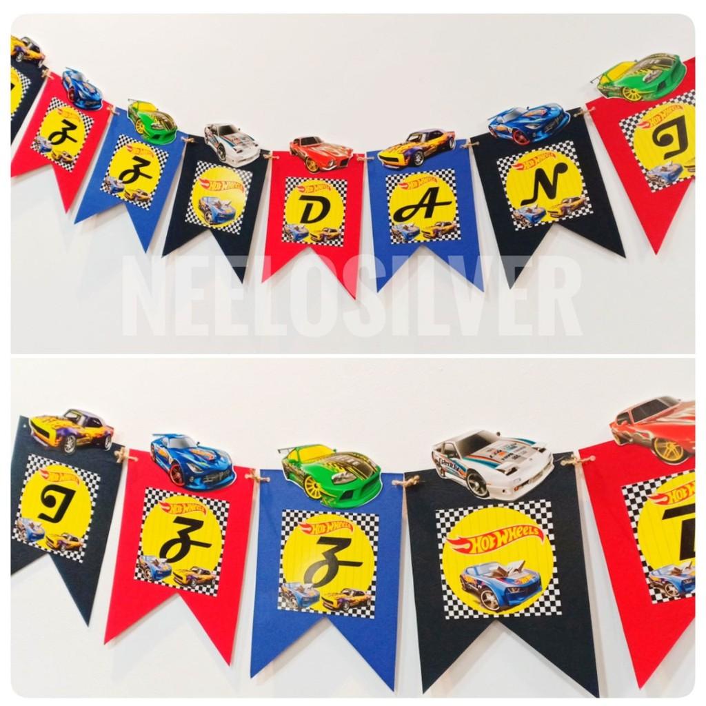 Hot Wheels Theme Flag Banner For Birthday Decoration Shopee Malaysia