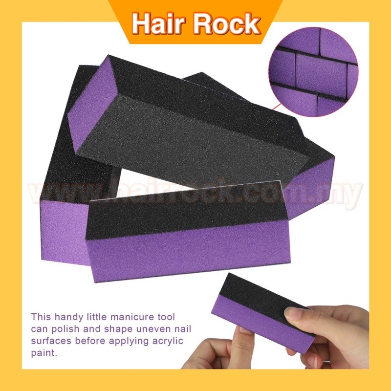 Nail Sanding Block, Buffing Sanding Buffer Polisher, Nail Files Pedicure Professional Art Manicure Tool (Black Purple)