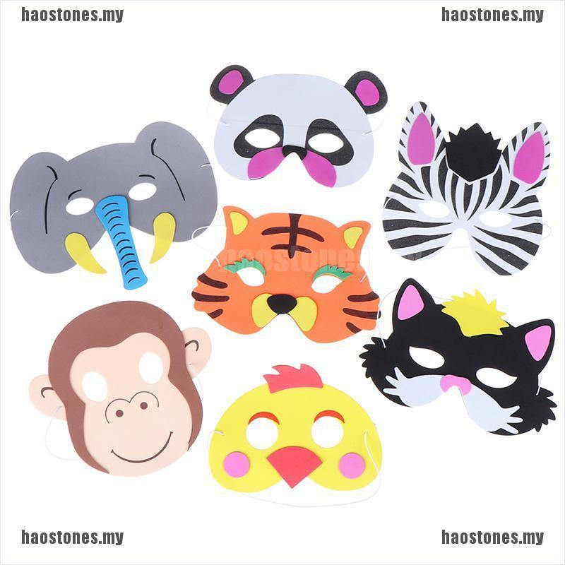 12pcs Kids Boy Jungle Animal EVA Masks Costume Dress Up Birthday Party Favors KE