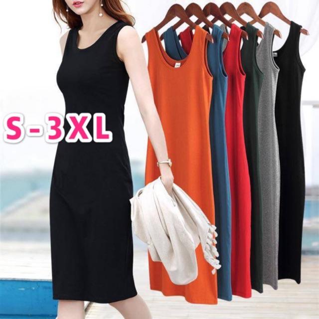 1dd8e604b7ff1 Women's dress round neck sleeveless plain midi dress