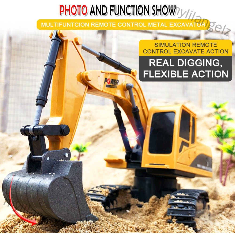 Mylilangelz 2.4Ghz 6CH 1:24 RC Excavator Mini RC Truck Rechargeable Simulated Excavator Gift (READY STOCK)