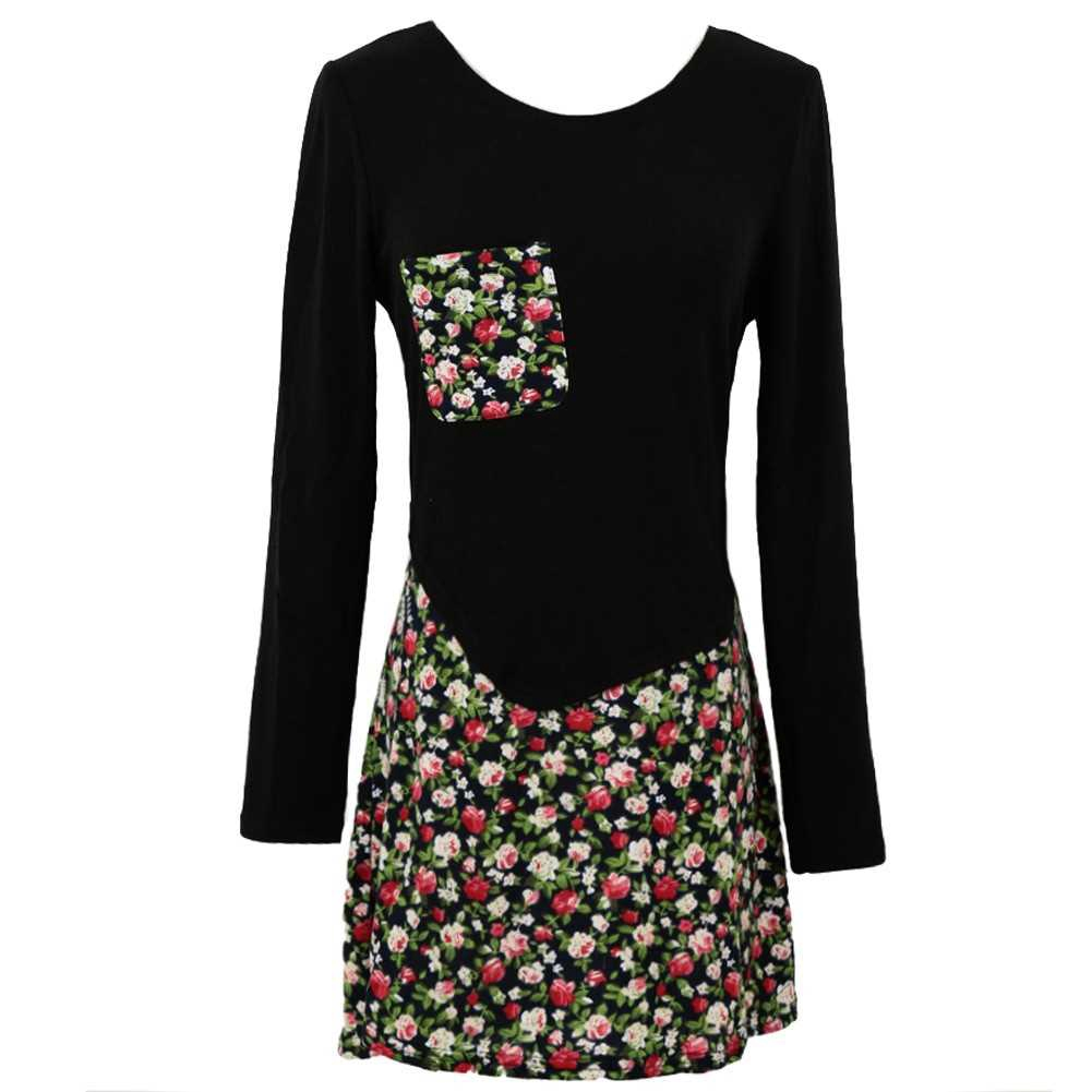 Fashion Women Jersey Dress Floral Print Pullover Fake Two Piece Long Sleeve Round Neck Stretchy Knit Dress (Black)
