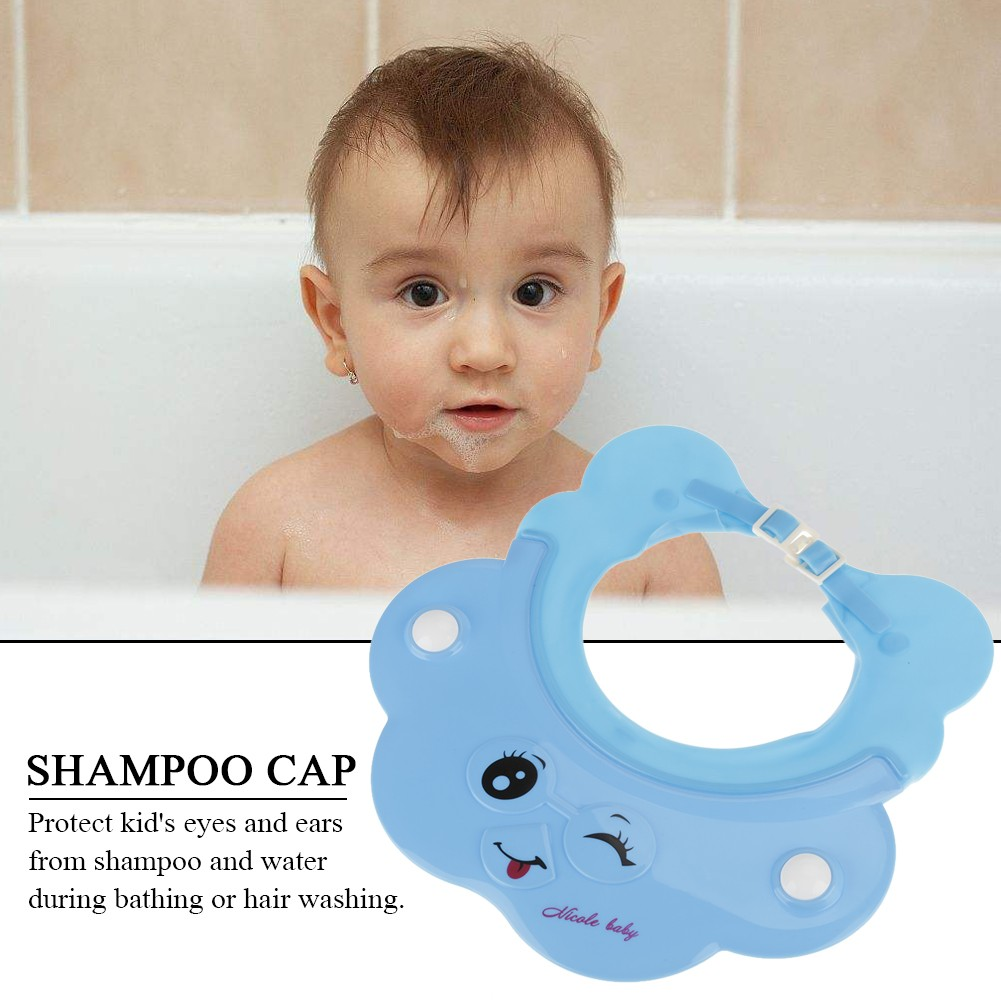 b80d4510e5e Elastic Baby Hair Wash Shower Shampoo Hat Cap Shield Eye Ear Protection