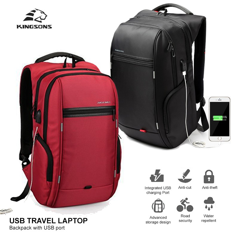 a593169887 KINGSONS Anti Theft Travel Laptop Backpack Bag 15.6 inch wt USB Charging  Port
